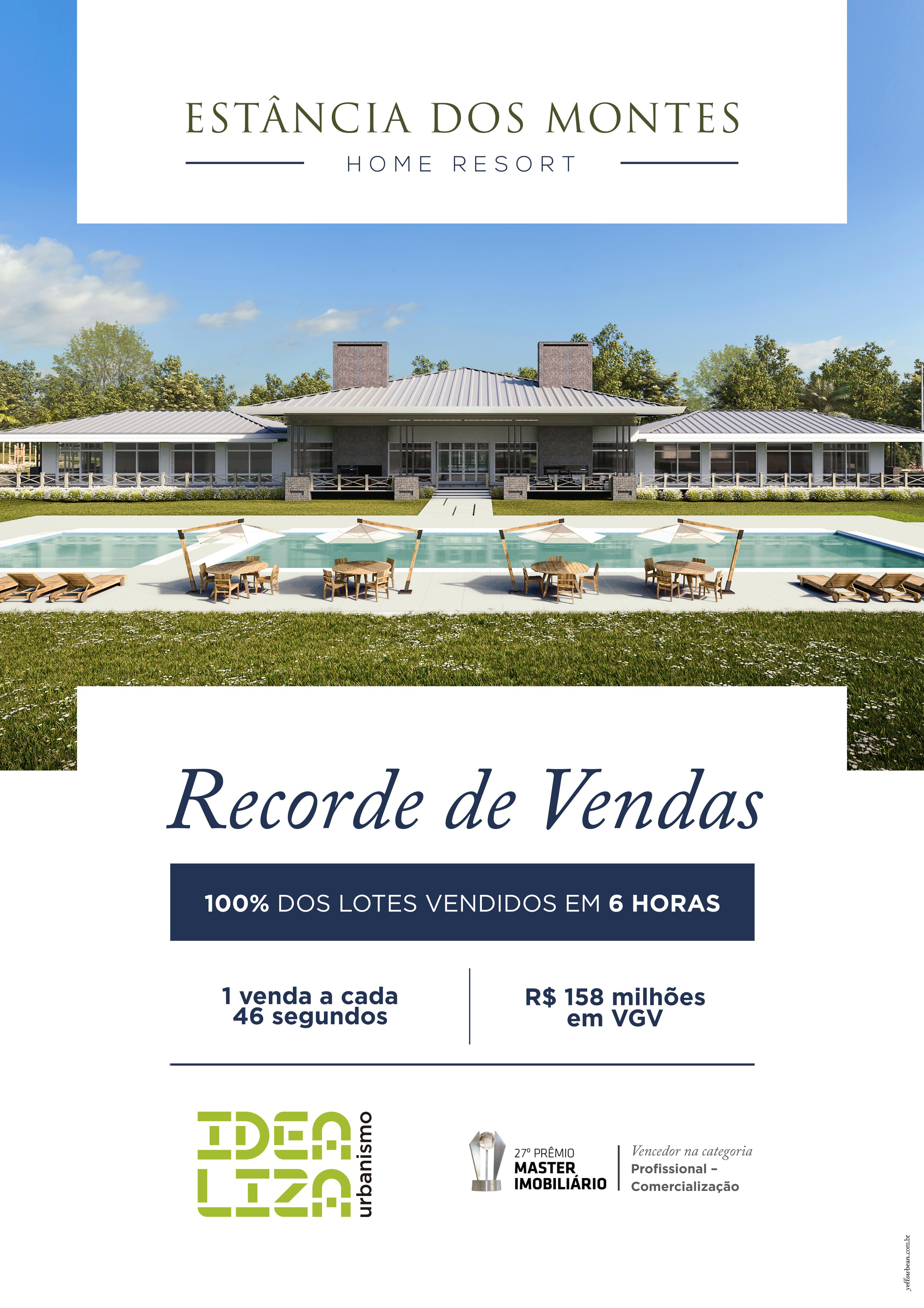 Estância dos Montes Home Resort, recorde de vendas